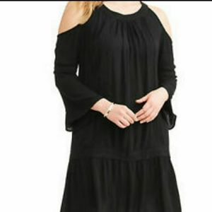 Terra & Sky Black Cold Shoulder Dress - Size 1X